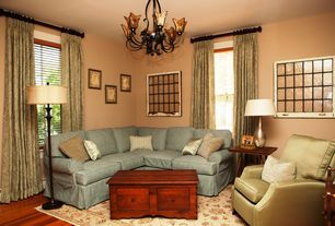 Country Living Room with Chandelier, Hardwood floors