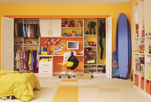 Contemporary Kids Bedroom with limestone floors, paint2, Built-in bookshelf