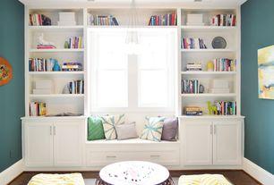 Traditional Guest Bedroom with Window seat, Chandelier, Built-in bookshelf, Hardwood floors, Bay window, Target Frontier Pouf