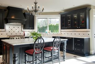 Traditional Kitchen with Glass panel, Raised panel, Florian crystal chandelier, Custom hood, Paint 3, Framed Partial Panel