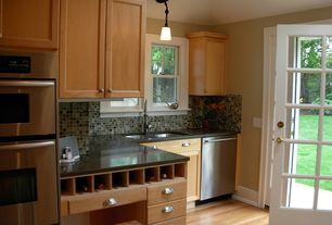 Cottage Kitchen with One-wall, Paint 2, Ceramic Tile, Undermount sink, Concrete counters, Flat panel cabinets, Paint 1