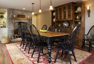Country Dining Room with Dakota Dining Table, Fireplace, Broyhill 539 Attic Heirlooms Windsor Side Chair, Paint  1