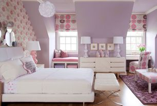 Traditional Kids Bedroom with Floral wallpaper, Roman shades, Crown molding, Pendant light, Built-in bookshelf, Wood dresser