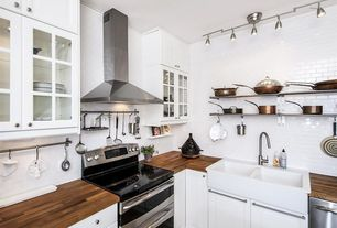 Country Kitchen with 1-1/2 in. zinc-plated s-hook (30-pieces), Wood countertop, Farmhouse sink, Glass panel, Flush
