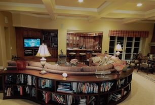 Traditional Living Room with French doors, Columns, Exposed beam, Paint 1, Built-in bookshelf, Standard height, Carpet