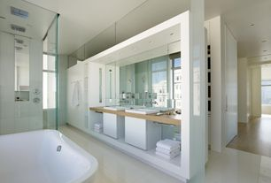 Contemporary Master Bathroom with can lights, Double sink, Master bathroom, Casement, Shower, large ceramic tile floors