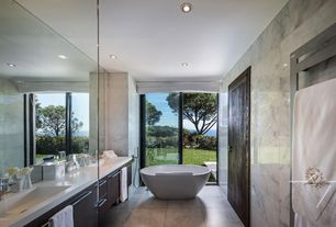 Contemporary Master Bathroom with Cheviot contemporary free standing bathtub filler with hand shower, European Cabinets
