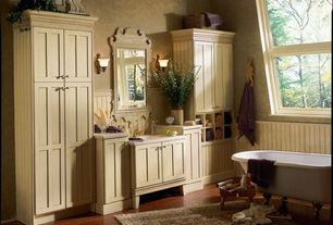 Cottage Master Bathroom with Flush, Safavieh Pedmint Mirror, Crown molding, Standard height, Wall sconce, Flat panel cabinets