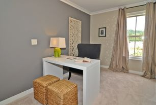 Modern Home Office with Crown molding, Carpet, double-hung window, Standard height