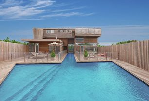 Contemporary Swimming Pool with French doors, Fence