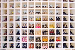 Traditional Closet with Woman's shoe storage cubbies