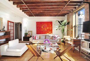 Modern Living Room with double-hung window, Hardwood floors, Paint, Standard height, Mid Century Danish Teak Folding Chair