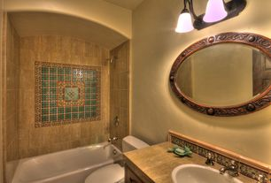 Eclectic Full Bathroom with Limestone tile counters, mexican tile backsplash, Flat panel cabinets, Inset cabinets