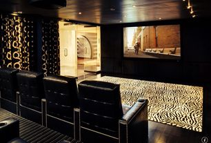 Eclectic Home Theater with Grasslands area rug, Home meridian larson, Contemporary custom drapery