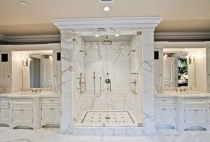 Traditional Master Bathroom with complex marble floors, Pental calacatta statuario polished marble, Inset cabinets