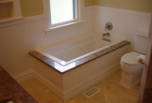 Cottage Full Bathroom with Dal tile natural stone collection crema marfil 12 in. x 12 in. marble floor and wall tile