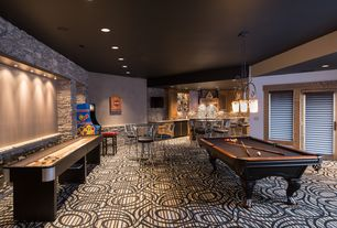 Contemporary Game Room with High ceiling, picture window, Chandelier, Cuetec R-360 Edge Stained Pool Cue, Paint 1, can lights