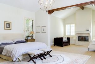 Traditional Master Bedroom with Stein World Accent Seating Versatile Accent Stool, Exposed beam, Hardwood floors, Chandelier