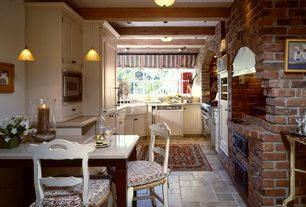 Cottage Kitchen with stone tile floors, Farmhouse sink, Paint 1, can lights, Smith & noble relaxed roman fabric shades, Paint