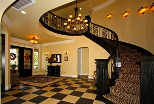 "Eclectic Entryway with can lights, Dean leopard animal print 30"" x 6' carpet runner rug, Crown molding, Wall sconce, Paint"