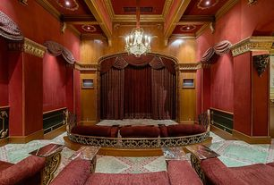 Traditional Home Theater with interior wallpaper, Box ceiling, Carpet, Chandelier
