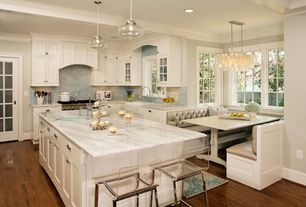 Contemporary Kitchen with European Cabinets, Daltile Soiree St. Kitts Mosaic Tile, French doors, can lights, Exposed beam