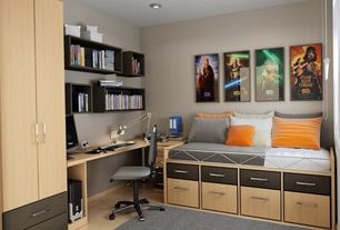 Contemporary Kids Bedroom with Standard height, Laminate floors, no bedroom feature, Built-in bookshelf, can lights