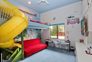Contemporary Playroom with interior wallpaper, Carpet, Ceiling fan