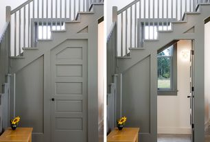 Modern Staircase with Concrete floors, Cathedral ceiling, specialty door