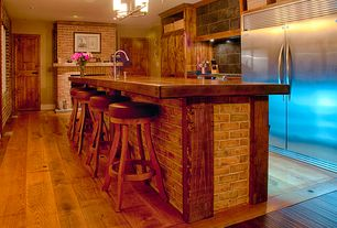 Country Kitchen with Vintage Oak Barrel Round Bar Stool, Flush, One-wall, Breakfast bar, full backsplash, Wood counters