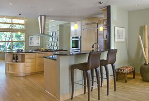 Modern Kitchen with Pendant light, Breakfast nook, can lights, European Cabinets, double wall oven, Hardwood floors, U-shaped