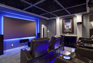 Traditional Home Theater with Carpet, Box ceiling, Built-in bookshelf