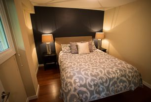 Contemporary Master Bedroom with Hardwood floors, Mid-century cylinder night light table lamp, Kendra trellis duvet cover