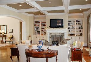 Traditional Living Room with Standard height, Wainscotting, Built-in bookshelf, flush light, Crown molding, Fireplace