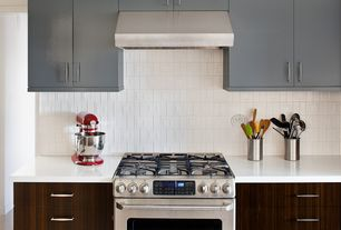 Modern Kitchen with Kitchenaid stand mixer, Dupont Corian Designer White