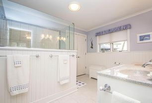 Cottage Master Bathroom with Undermount sink, Simple granite counters, frameless showerdoor, Valance, flush light
