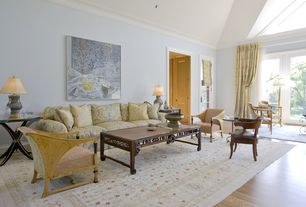 Eclectic Living Room with Holly Yellow & Gold Damask Sofa, High ceiling, French doors, Hardwood floors