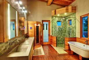 Contemporary Master Bathroom with frameless showerdoor, Subway Tile, Rain shower, partial backsplash, Wall Tiles, Shower