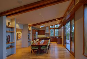 Contemporary Great Room with Built-in bookshelf, Exposed beam, Transom window, Skylight, Hardwood floors