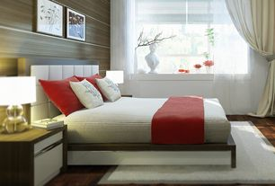 Contemporary Master Bedroom with Nourison style bright white shag rug, interior wallpaper, Horizontal paneling