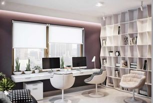 Contemporary Home Office with flush light, International Design Barrel Adjustable Swivel Leisure Side Chair Color: White