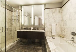 Modern Master Bathroom with European Cabinets, wall-mounted above mirror bathroom light, Double sink, Wall Tiles, can lights