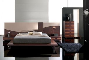 Contemporary Master Bedroom with paint2, Soft shag black area rug (3'3 x 4'8), complex marble floors, Wall sconce