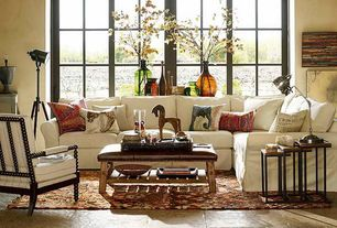 Eclectic Living Room with Pottery Barn Caden Leather Rectangle Ottoman, Horchow Finder Nesting Tables (Set of 3)