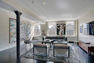 Contemporary Living Room with Columns, Hardwood floors, interior wallpaper