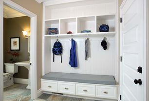 Cottage Mud Room with Dura Supreme Cabinetry Hanover Panel, Painted shaker cabinet, Beadboard, Crown molding