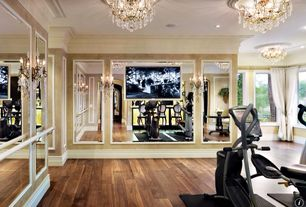 Traditional Home Gym with Crown molding, Wall sconce, Body Rider 3-in-1 Trio Trainer - Elliptical/Recumbent Bike/Upright Bike