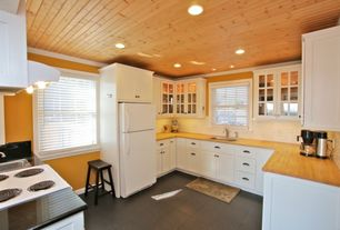 Country Kitchen with Wood counters, Daltile nero macchiato (1) cd37, Flush, U-shaped, Glass panel, Subway Tile, Custom hood