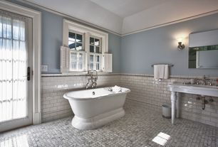 Traditional Master Bathroom with Freestanding, High ceiling, American Bath Factory Nobb Hill AcraStone Bathtub, French doors