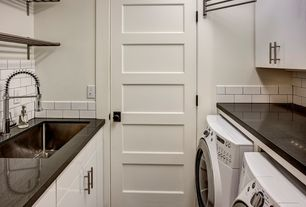 Craftsman Laundry Room with Home depot-metro glossy white porcelain wall tile, six panel door, Paint, Undermount sink
